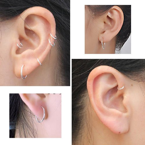 sterling silver small thin endless hoop earrings for cartilage