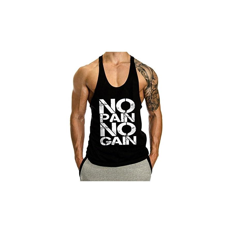 InleaderStyle Men's Gym Cotton NoPainNoGain Stringer Vest