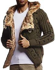 Leif Nelson Heren gebreide jas met capuchon ritssluiting cardigan zwarte jas voor winter winterjas overgangsjas hoodie mannen vrijetijdsjas lange mouwen slim fit LN555