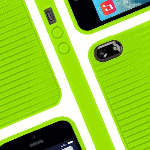 EMPIRE GRUVE Full Schutz TPU Case Tasche Hülle for Apple iPhone 5 / 5S - Neon Grün (Displayschutzfol