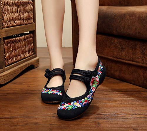 Danse Tissu Tendon Brodées Mode Chaussures Ethnique De Taille coloré Noir Fuxitoggo Féminin En Confortable Style Semelle wAq70anTS