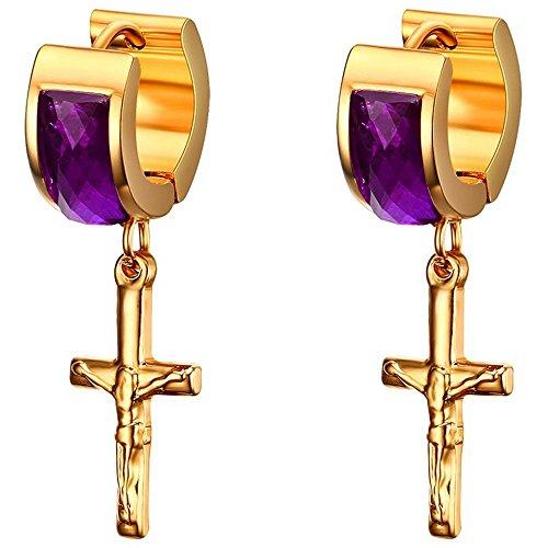 BOBIJOO Jewelry - Boucles d'Oreilles Pendantes Croix Femme Christ Plaqué Or Fin Améthyste