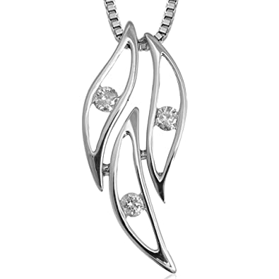Amazon 14k white gold leaf 3 stone diamond pendant necklace 14k white gold leaf 3 stone diamond pendant necklace 008 carat aloadofball