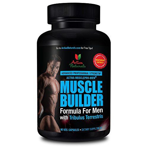 Activa Naturals Muscle Builder Supplement for Men with Essential Body Building Booster Vitamins & Natural Workout Supplements for Lean Muscle Mass & Strength - 90 Veg. Capsules