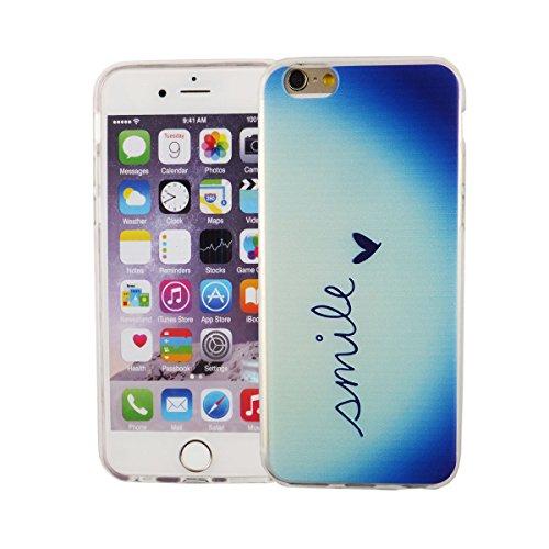 König Boutique Housse étui pour Apple iPhone 6/6S Cover Case Étui de protection Motif slim Bumper en silicone Coque Etuis Cadre TPU Inscription Smile Bleu