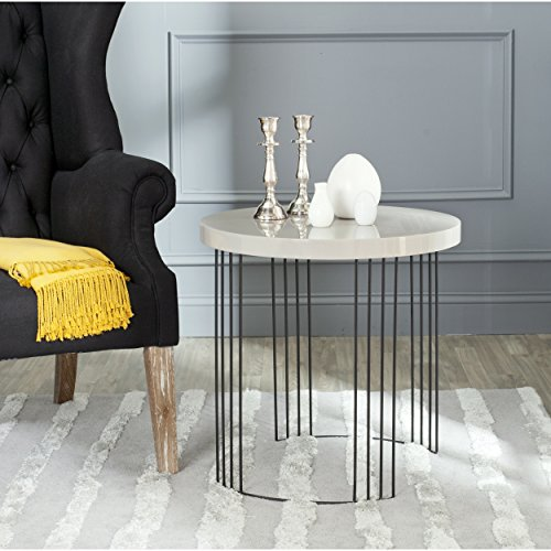 Safavieh Home Collection Kelly Mid-Century Modern Taupe and Black Side Table