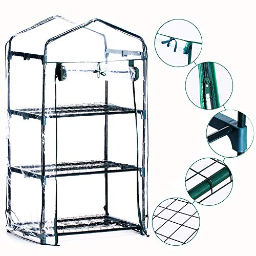 Homes Garden 3-Tier Shelves Mini Greenhouse Warm Clear PVC Cover Garden Plant Flower Grow Tent Outdoor Zipper Roll Up Front 27 in. L x 19 in. W x 47 in. H