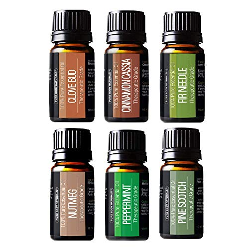 Winter Essential Oils Set - Gift Set of 6 Classic Holiday Essential Oils - Cinnamon, Clove, Peppermint, Pine, Nutmeg & Fir - Pure & Tested, by Pure Body ()