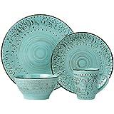 Lorren Home Trends 16 Piece Distressed Romance Stoneware Dinnerware Set, Green Embossed