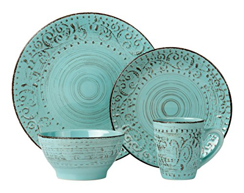 Lorren Home Trends 16 Piece Distressed Romance Stoneware Dinnerware Set, Green Embossed (Dish Sets For 8)