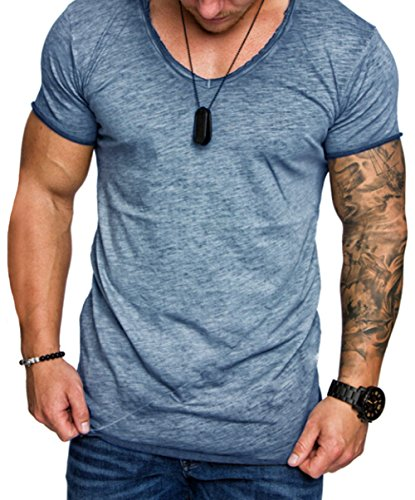 XARAZA Men's Slim Fit Muscle Short Sleeve T-Shirt Summer Tees Tops (US-L, Grey Blue)