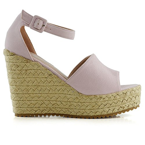 ESSEX GLAM Womens Platform Wedges Ankle Strap Sandals Ladies Espadrilles Peeptoe Shoes Size Pastel Pink Faux Suede rxbMJ
