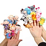 Twister.CK Finger Puppets Set, 10 Animals and 6 People Family Members