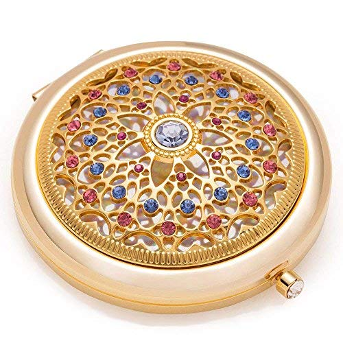 Unique Gifts For Women / 24k Gold Electroplate Makeup Mirror by Jinvun: Ultimate Luxury Round Vanity Mirror w/Diamonds/Sturdy Travel Purse Compact Cosmetic Mirror/Folding Magnifying Beauty Mirror