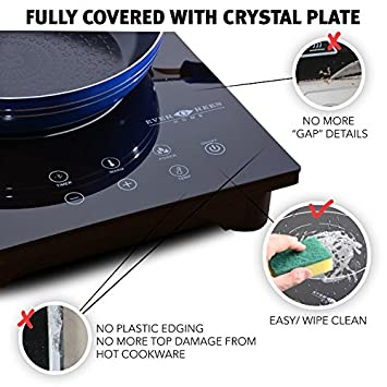 Portable Countertop Burner-Easy To Clean Evergreen Home 1800W Digital Induction Cooker Cooktop