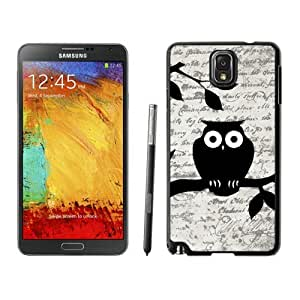 Funny Samsung Galaxy Note 3 Case Owl On Vintage Paper Designs Durable Soft Rubber Silicone Phone Cover