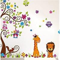 1 X Jungle Zoo Happy Owl, león con jirafa vinilo decorativo para niños, guardería