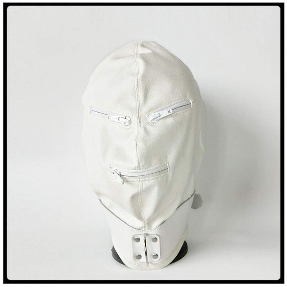 Erotic Headgear Mask White Soft PU Thickening Strengthen Fully Enclosed Hood Punishing Mask Binding Supplies Sex Toys Leather by YEZHIMEIMIAO
