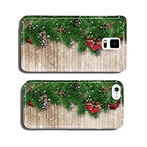 Christmas fir tree on snowy wooden background cell phone cover case Samsung S6