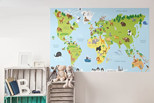 CostaCover World Map Wall Decal Sticker For Kids- Educative World Map Wallpaper- Easy To Remove (36'' x - Store Map Park South