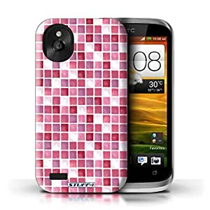 KOBALT? Protective Hard Back Phone Case / Cover for HTC Desire X | Red/Pink Design | Bath Tile Pattern Collection