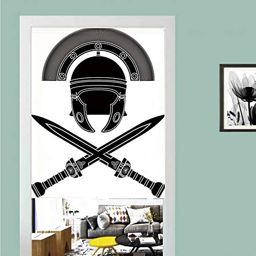 3D printed Magic Stickers Door Curtain,Toga Party,Classic Roman Helmet and Swords Ancient Knight Symbolic War Illustration Decorative,Black Grey White ,Privacy Protect for Kitchen,Bathroom,Bedroom(1 -