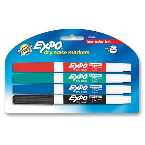 Expo Original Fine Tip Dry Erase Markers, 4 Colored Markers (84074) Case of 72