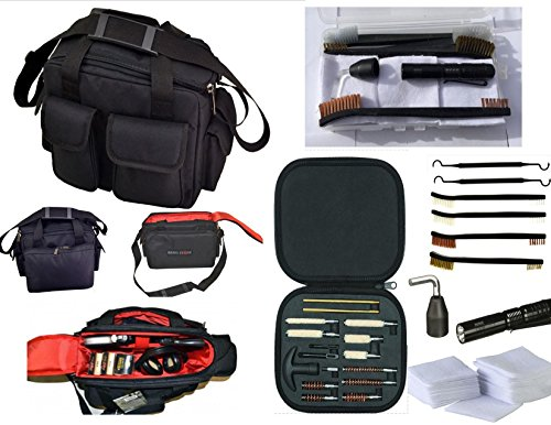 "Range Warrior 16"" Tactical Range Bag Shooting Patrol Duty Bag & 27 Pc Universal Handgun Pistol Cleaning Kit | Glock | 1911 | Springfield Armory | Sig Sauer | Walther | Smith & Wesson (BLACK)"