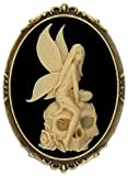 Skeleton Fairy Brooch Pin Shield Decor Antique Brass Cameo Fashion Jewelry Pouch for Gift