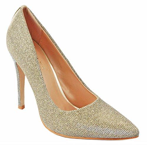 Jjf Scarpe Da Donna Perlescenti Glitter Scintillanti Scarpe A Punta Stiletto Con Tacco A Spillo Champagne_b-1