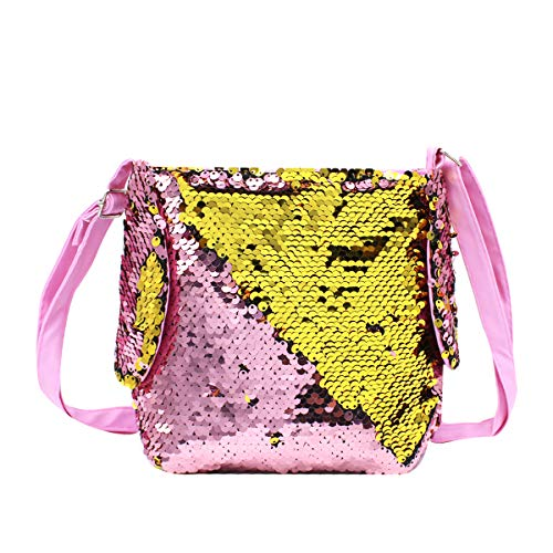 Girls Crossbody Purse Bling Glitter Flip Sequin Small Purse Cute Rabbit Ears Zipper Handbag Shoulder Bag Pink