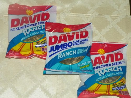 DAVID Roasted & Salted RANCH Flavored Sun Flower Seeds (3 Packs)