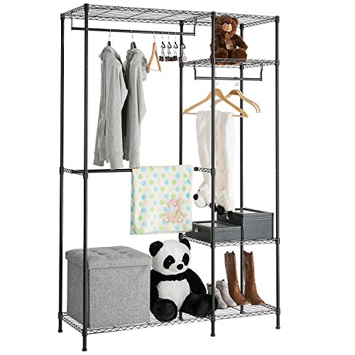 DOEWORKS Wire Shelving Garment Rack for Closet Organizer for Clothes Hanging Heavy Duty Portable Clothes Rack Wardrobe Storage with Adjustable Shelves and Hangers,Thicken Steel Tube