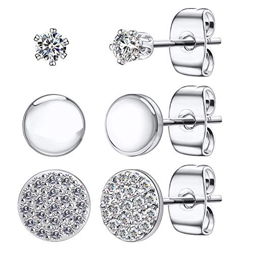 Dot Stud Earrings for Women, Minimalist 925 Sterling Silver Tiny Disc Earrings, with Sparkle CZ Inlaid Simulated Diamond Round Circle Ear Stud Sets(Silver/3 Pairs)