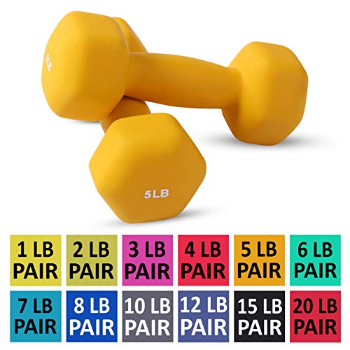 Neoprene Dumbbell Pairs by Day 1 Fitness - 5 Pounds - Non-Slip, Hexagon Shape, Color Coded, Easy To Read Hand Weights for Muscle Toning, Strength Building, Weight Loss