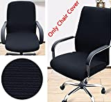 Trycooling Modern Simplism Style Chair Covers Cotton Office Computer Stretchable Rotating Chair Cover (Large, Black)