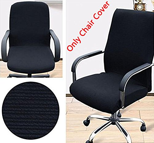Trycooling Modern Simplism Style Chair Covers Cotton Office Computer Stretchable Rotating Chair Cover (Large, Black) by Trycooling