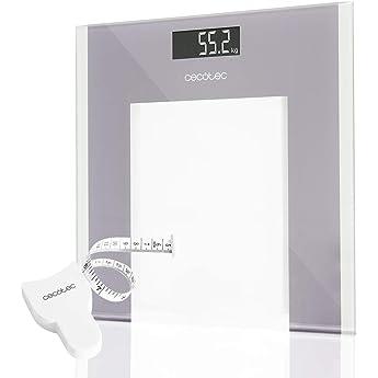 Cecotec Báscula de baño digital Surface Precision 9100 Healthy Plataforma de cristal de alta seguridad, pantalla LCD invertida y capacidad máxima de 180kgr. Lista para usar y con cinta métrica.: Amazon.es: Salud