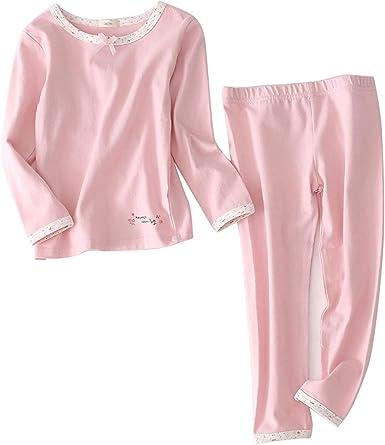 Conjunto de pijama de algodón para niñas de color sólido, camisetas y pantalones para niñas, pijamas de pijama de Pjs Rosa rosa Talla única: Amazon.es: Ropa y accesorios