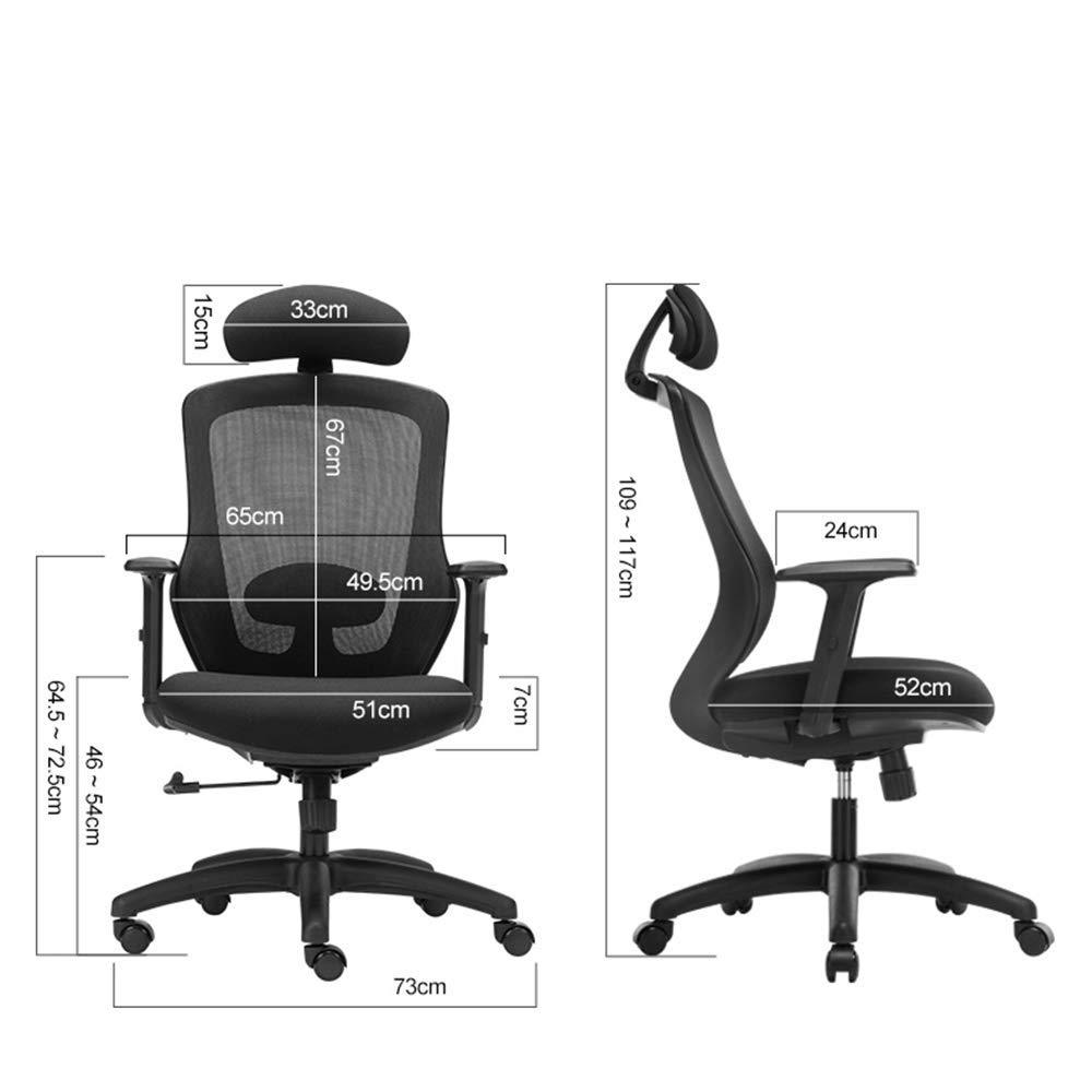 Xiuyun Datorstol höghållfast teknik polymer ergonomisk avlastare kontorsstol andningsbar chef svängbar aktiv nackstöd nätdesign bekväm korsstång stöd plast (färg: Röd) Svart