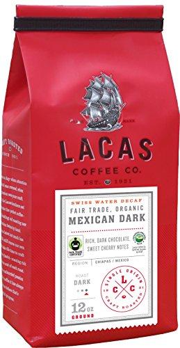 (Lacas Coffee Company Fair Trade Organic Mexican Dark Swiss Water Process Decaffeinated Medium Fine 12 oz.)