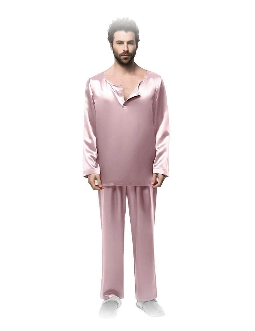 Long sleeves slit neckline silk pajamas for man 22 momme