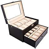 Bonnlo 20-Slot Leather Watch Box / Watch Case / Jewelry Box / Watch Jewelry Display Storage Metal Hinge Glass Top Large Holder (Black)