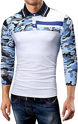 Camisas hombre Los hombres de la solapa de la caída de costura Camisetas camiseta tops,YanHoo® Mens Casual manga larga camisa negocio Slim Fit Camisas de Colorido blusa Cómodo (Blanco, XL): Amazon.es: Iluminación