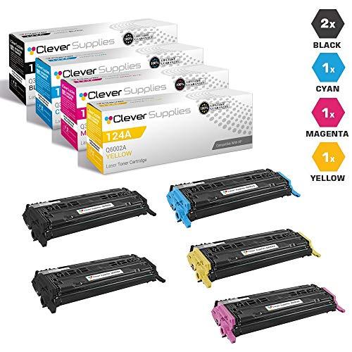 CS Compatible Toner Cartridge Replacement for HP 2600N Q6000A Black Q6001A Cyan Q6002A Yellow Q6003A Magenta HP 124A 1600 2600N 2600DN 2605 2605DN 2605DTN CM1015 CM1015MFP CM1017 5 Color Set