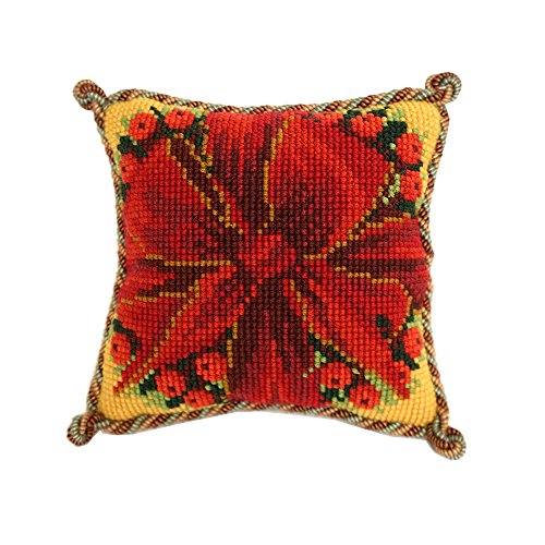 - Bow and Berries Mini Needlepoint Tapestry Kit from Elizabeth Bradley premium English needlework project on 10 mesh with 100% wool yarns. Festive and holiday themed.