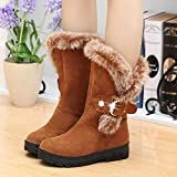 Gyoume Women Winter Boots Slip-On Boots Shoes Soft Snow Boots Shoes Round Toe Flat Boots Mid-Calf Boots