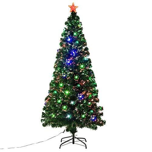 Christmas Tree Fiber Optic Lights: HomCom 6' Aritifical Pre-Lit Fiber Optic Holiday Christmas