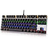 Hcman Mechanical Keyboard Blue Switches,Gaming Keyboard Led Backlit For Computer PC & Mac Gamers 87 Keys (Black)