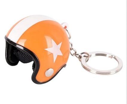 Générique Gran llavero joyas de bolsa casco Moto naranja y blanco.